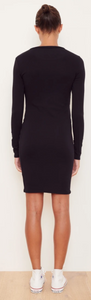 Rib Long Sleeve Twist Dress