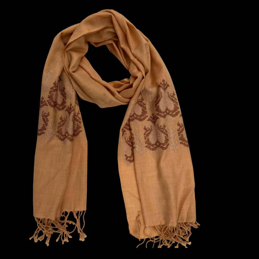 Brown Embroidered Shawl, Scarf or Wrap Accessories Indo Weaves