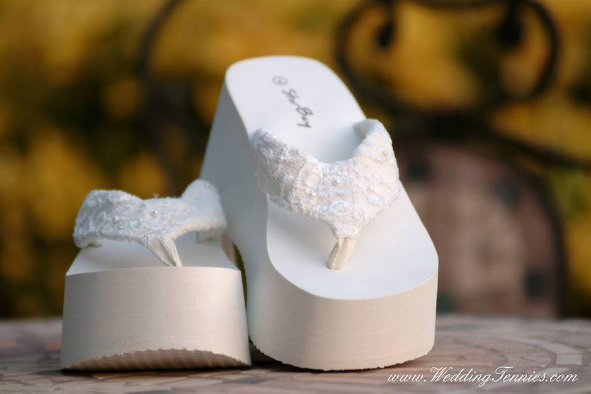 Lacy Platform Flip Flops Wedding Shoes Wedding Tennies & Formal Shoes