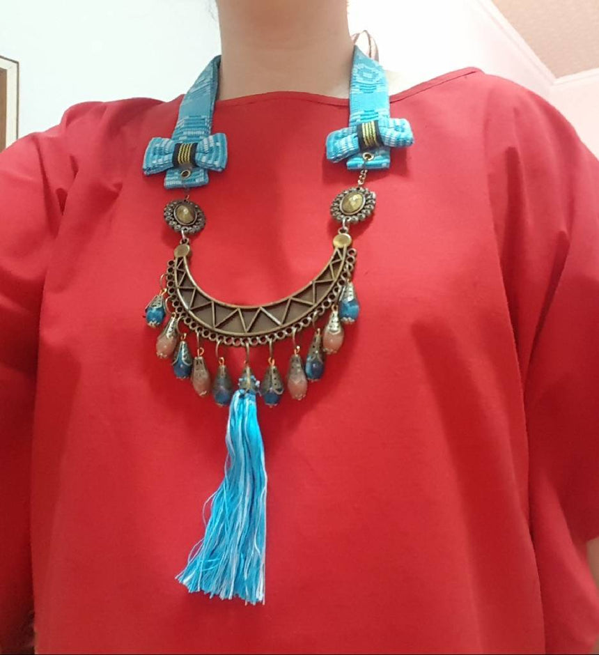 Acc Necklace Light Blue Tenun Sumba Crafting Hope International