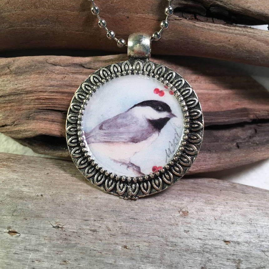 Chickadee Art Pendant with Necklace Necklace Wild Art Watercolors