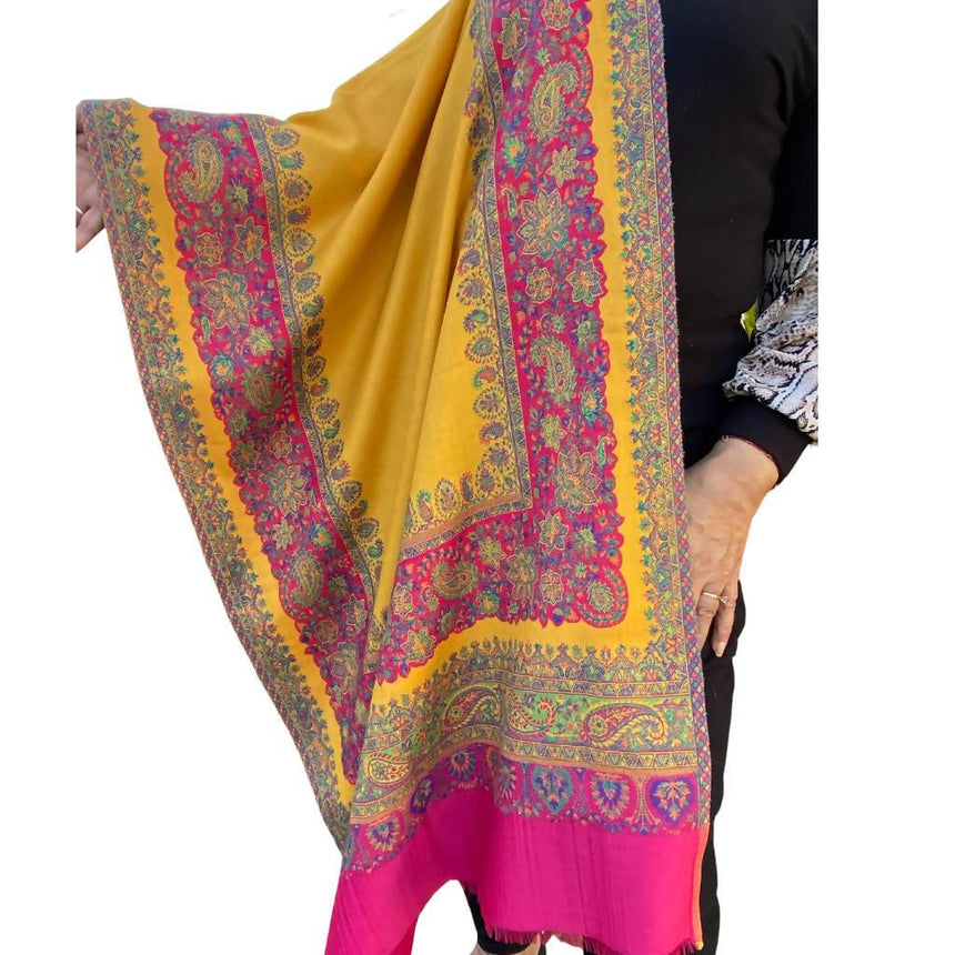 Mustard Pink Embroidered Shawl, Scarf or Wrap Accessories Indo Weaves