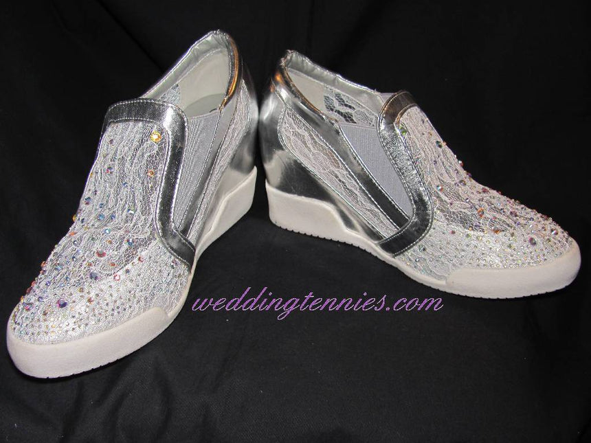 Style Silver Lace Sneakers Shoes Wedding Tennies & Formal Shoes