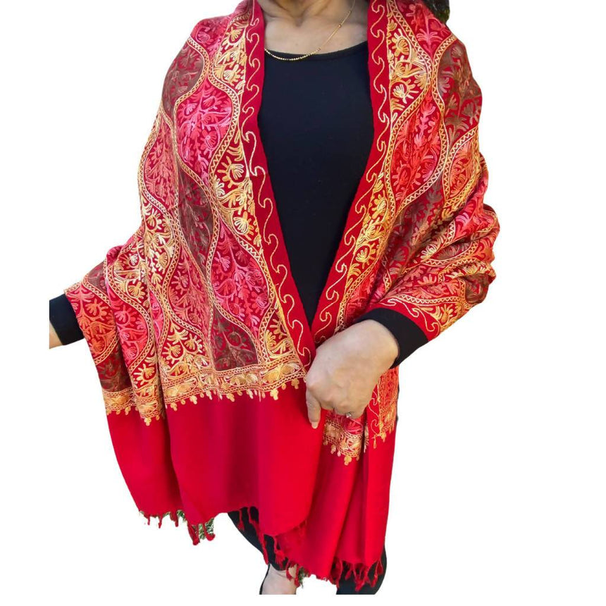 Red Embroidery Pashmina Shawl, Scarf or Wrap Accessories Indo Weaves