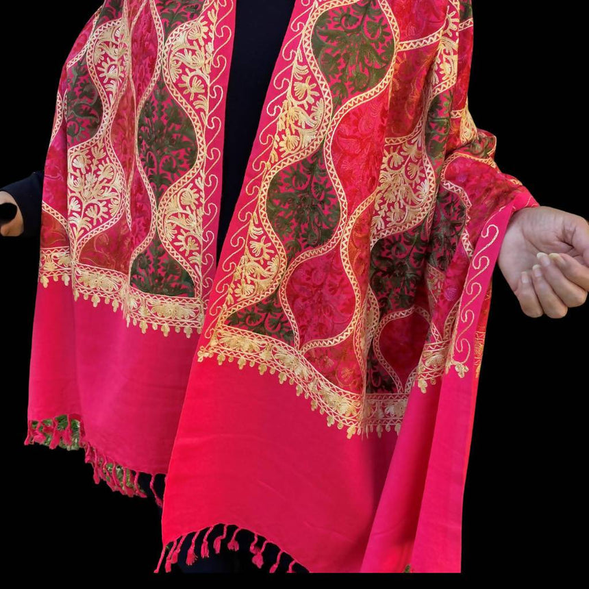 Pink Embroidered Pashmina Shawl, Scarf or Wrap Accessories Indo Weaves