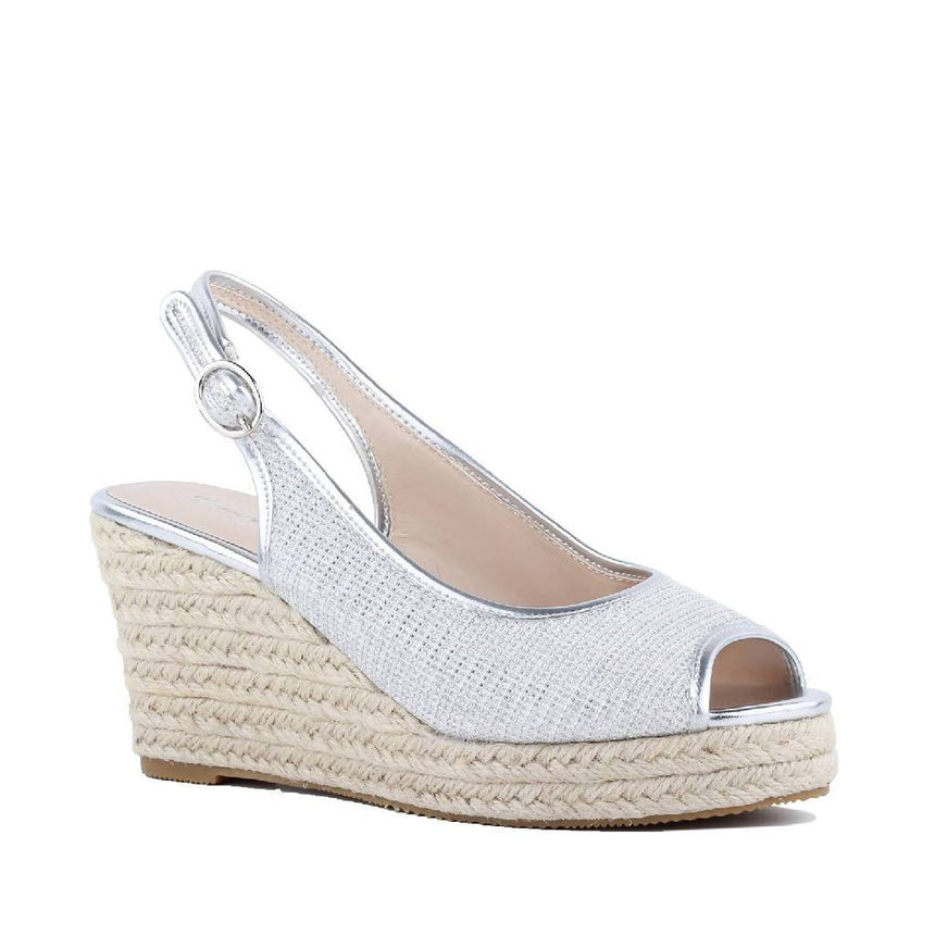 Espadrille Silver Wedge Peep-toe Sandals Shoes Wedding Tennies & Formal Shoes