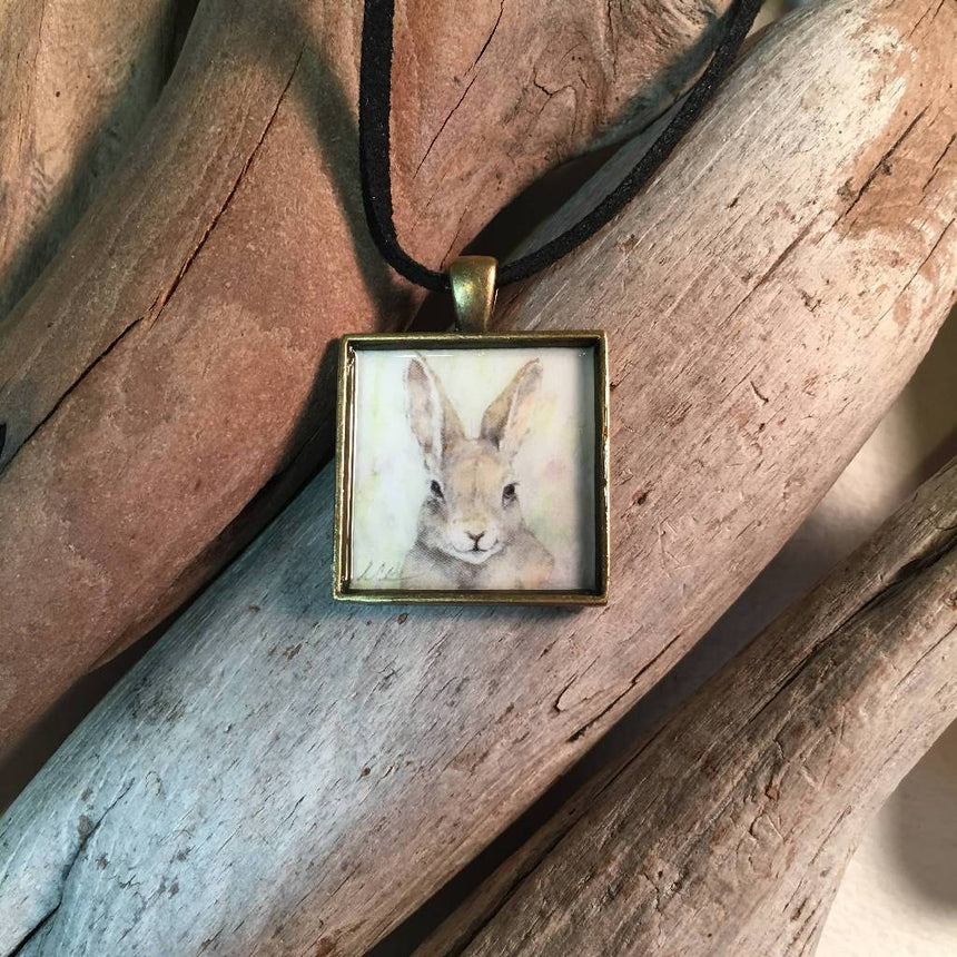 Brown Bunny Art Print Pendant Jewelry Wild Art Watercolors