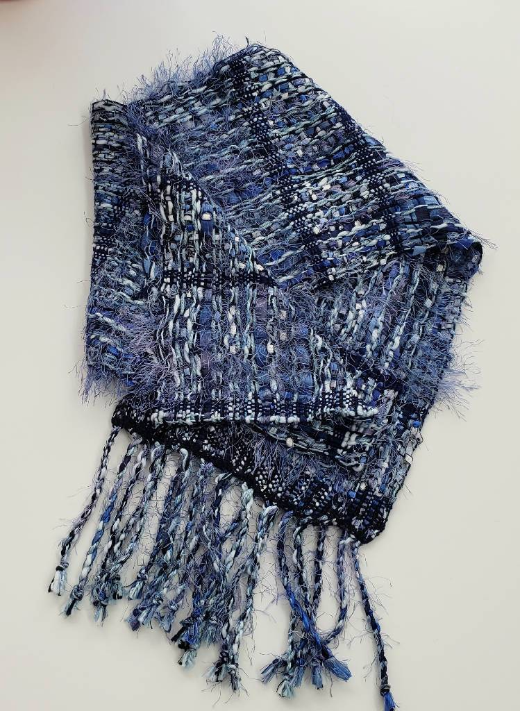 Handwoven Fancy Cotton and Ribbon Scarf- Luv all Blues scarf handwoven Iron Springs Weaving