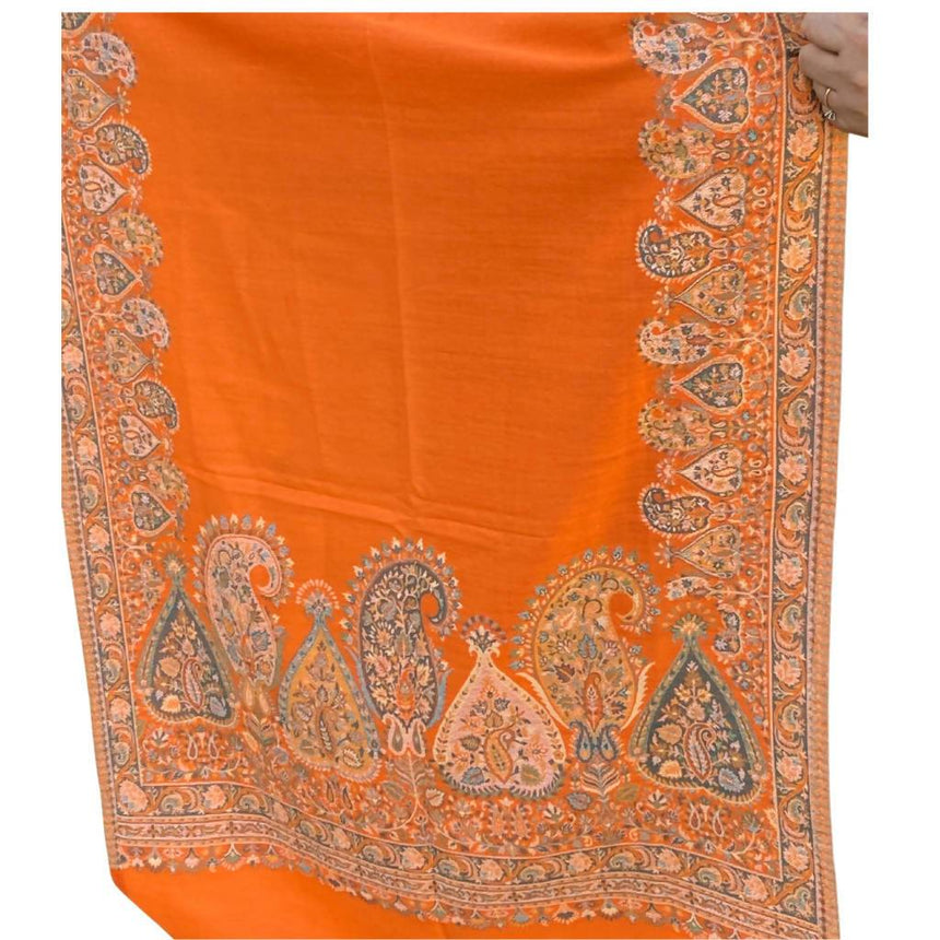 Orange Embroidery Pashmina Shawl, Scarf or Wrap Accessories Indo Weaves