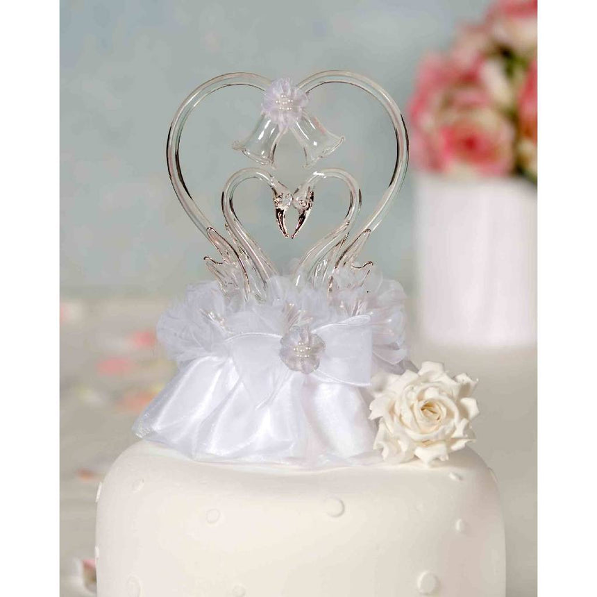 Glass Swan Cake Topper with Heart Traditional Cake Toppers (Heavy) Wedding Collectibles