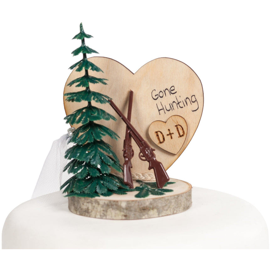 Gone Hunting Cake Top Wood Cake Toppers (Light) Wedding Collectibles