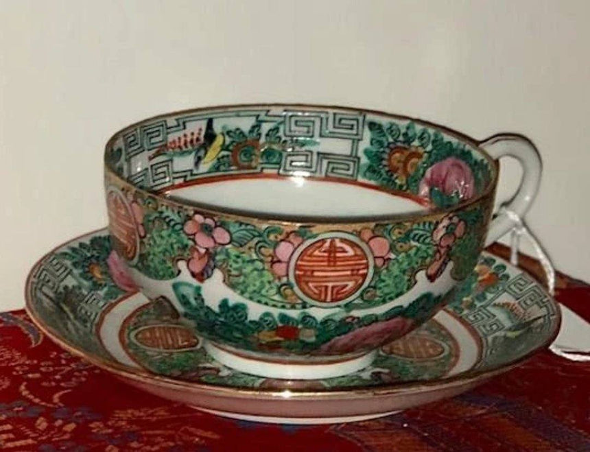 Canton Famille Rose Tea Cup and Saucer Porcelain Delightful Discoveries by SnS