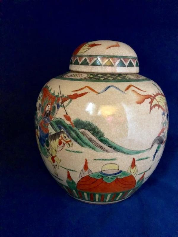 Famille Verte Chinese Crackle Glaze Porcelain Ginger Jar 19th Century Ceramics Delightful Discoveries by SnS