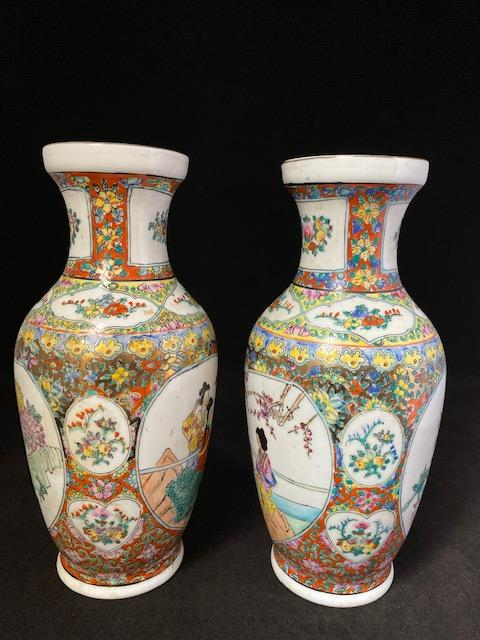 20th Century Pair Rose Medallion Chinese Porcelain Vase Marked Porcelain Delightful Discoveries by SnS