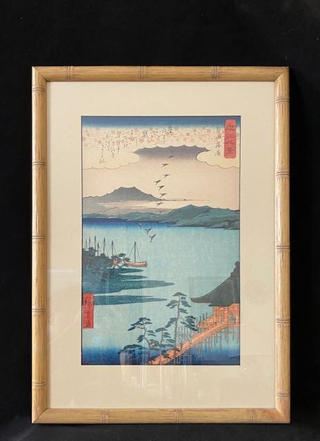 Utagawa Hiroshige Descending Geese at Katada Woodblock Print Delightful Discoveries by SnS