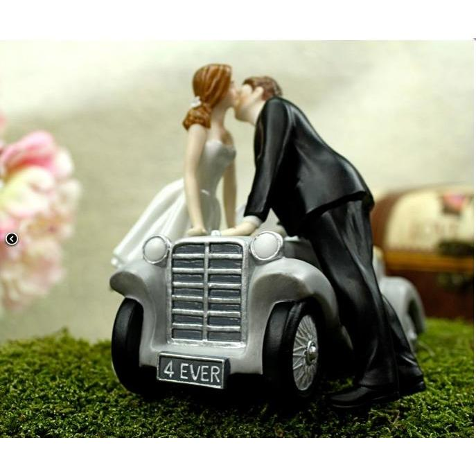 """I'll Love U 4 EVER"" Car Wedding Cake Topper Porcelain Figurines (Heavy) Wedding Collectibles"