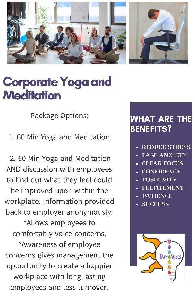 Corporate Yoga and Meditation Wellness Benefits Day Vibes LLC