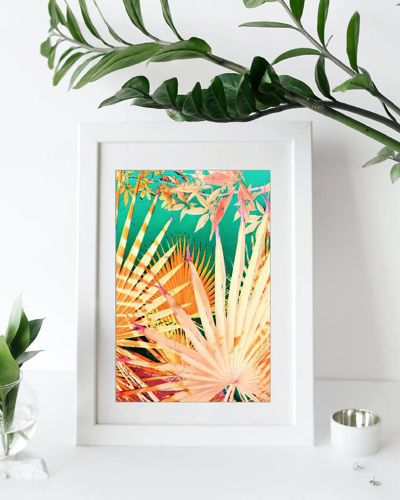 Origami Palm Jungle, PRINT with white mat, 10x13 inch. Home Delphine B Photography