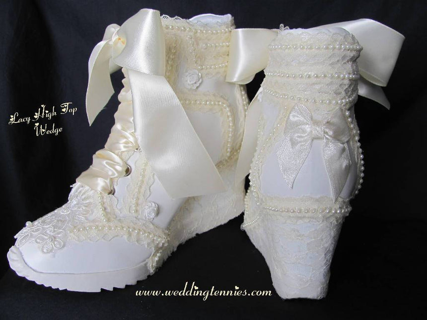 Style Lacy High Top Wedge Shoes Wedding Tennies & Formal Shoes
