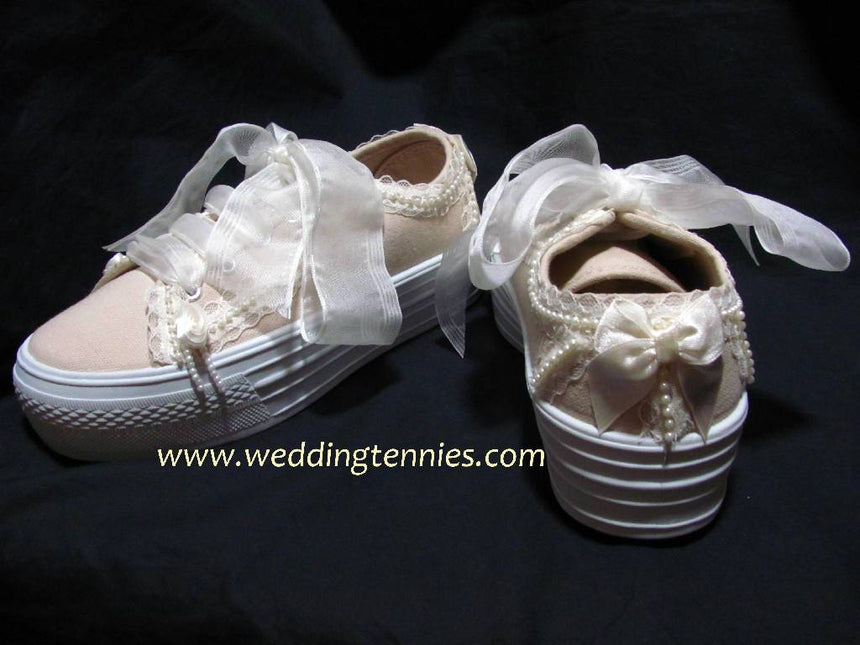 Style Dark Ivory Be Mine Wedding Sneakers with Lace and Pearls Shoes Wedding Tennies & Formal Shoes