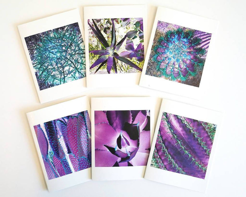 Note Card Set - Colorful Purple Cactus, 6 different note cards with enveloppes Home Delphine B Photography