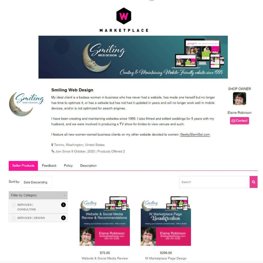 W Marketplace Page Design Design Smiling Web Design