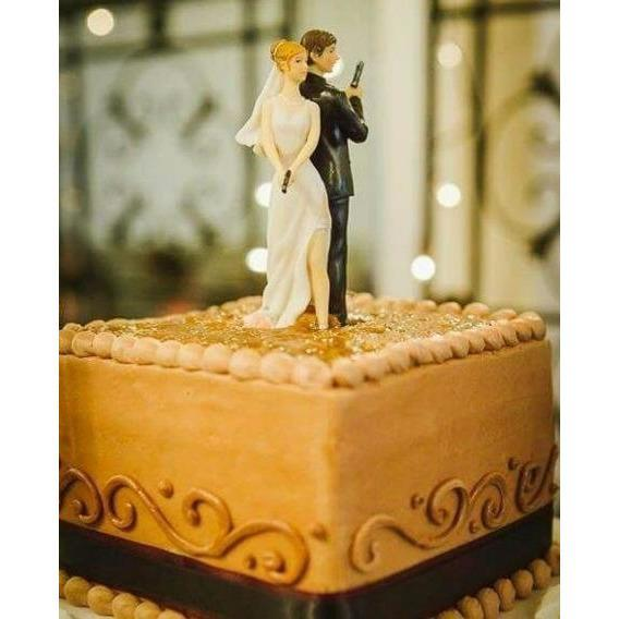 """Super Sexy Spy"" Bride and Groom Cake Topper Figurine Porcelain Figurines (Light) Wedding Collectibles"