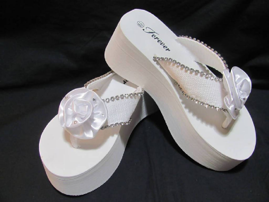Rhinestone Satin Rose Platform Flip Flops Wedding Shoes Wedding Tennies & Formal Shoes