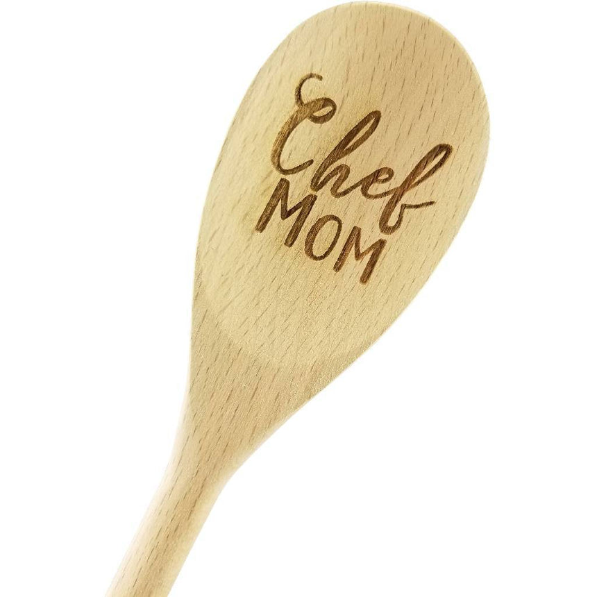 Engraved Chef Mom Wood Spoon Gift - 14 inch- hostess gift, shower favor, engraved spoon, stocking stuffer, mothers day C&R Spoons (Generic) Wedding Collectibles