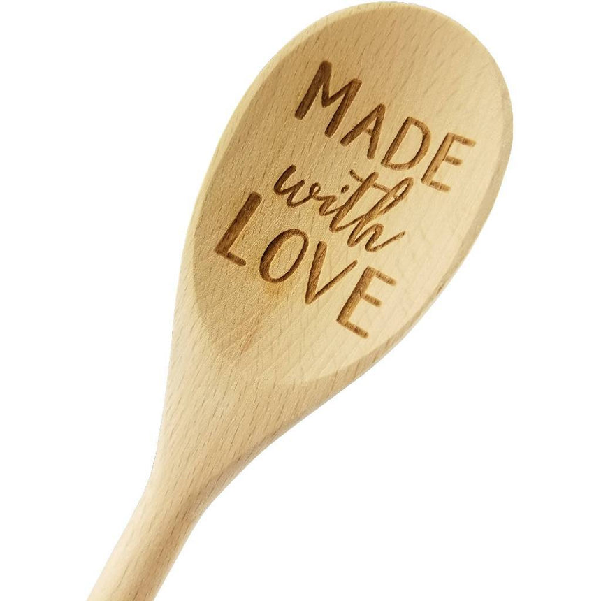 Engraved Made With Love Wood Spoon Gift - 14 inch- hostess gift, shower favor, engraved spoon, stocking stuffer C&R Spoons (Generic) Wedding Collectibles