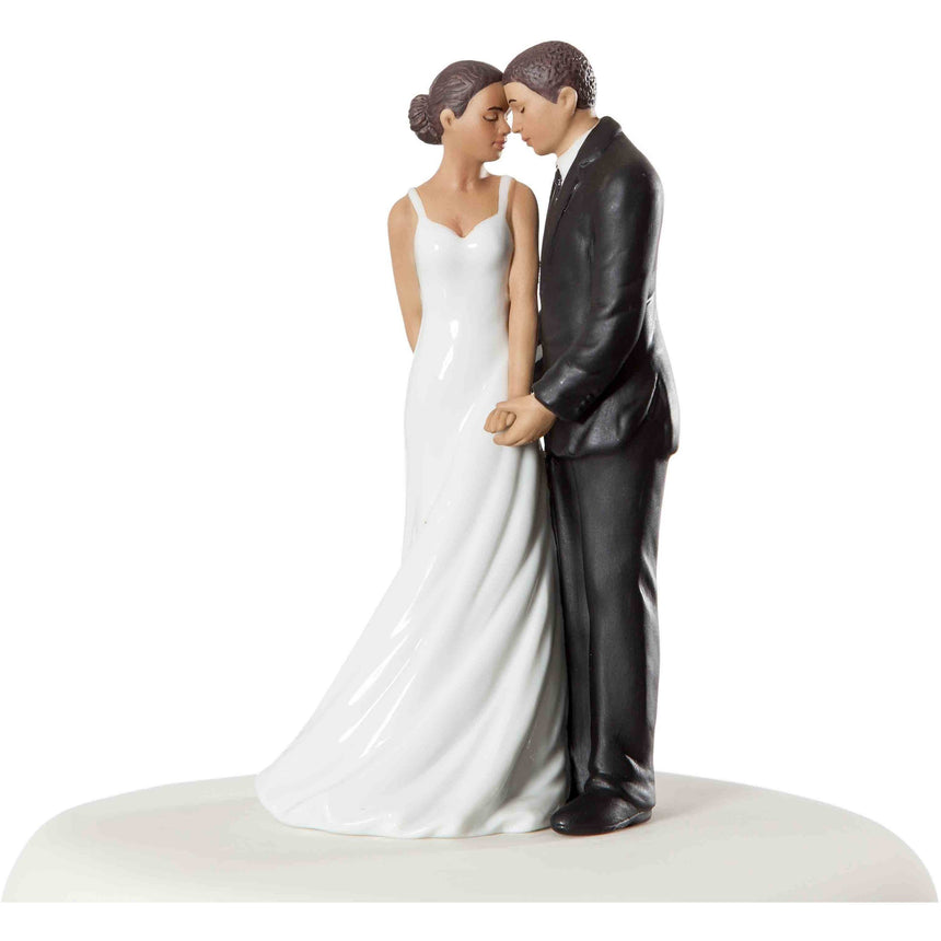 """Wedding Bliss"" African American Wedding Cake Topper Porcelain Figurines (Light) Wedding Collectibles"