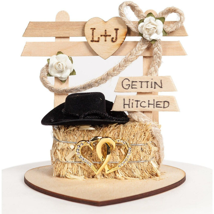 Western Affection Cake Top Wood Cake Toppers (Light) Wedding Collectibles
