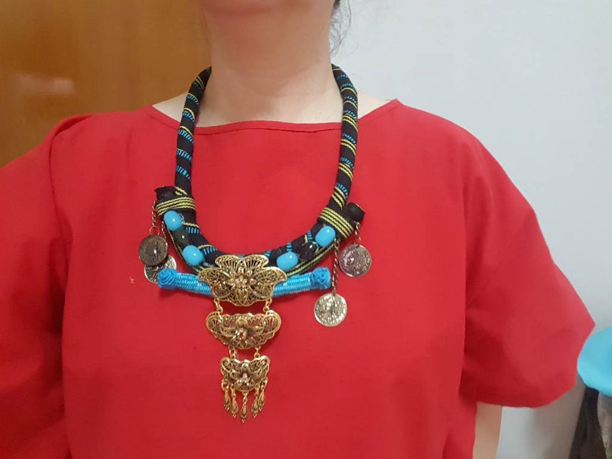 Acc Necklace Blue and Blue Tenun Sumba Crafting Hope International