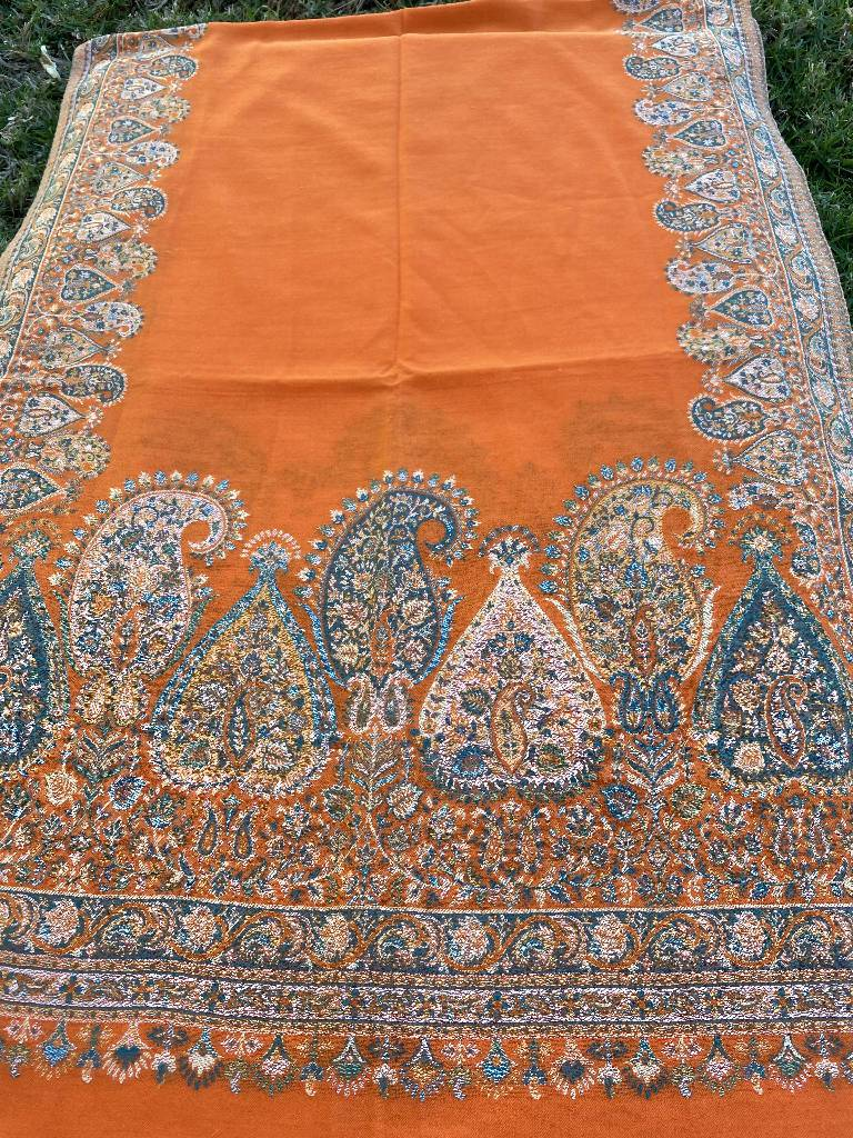 Orange Embroidery Pashmina Shawl, Scarf or Wrap