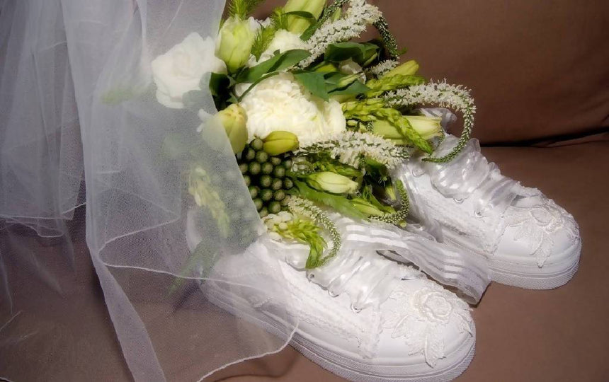 Style Be Mine Wedding Sneakers with Lace and Pearls Shoes Wedding Tennies & Formal Shoes