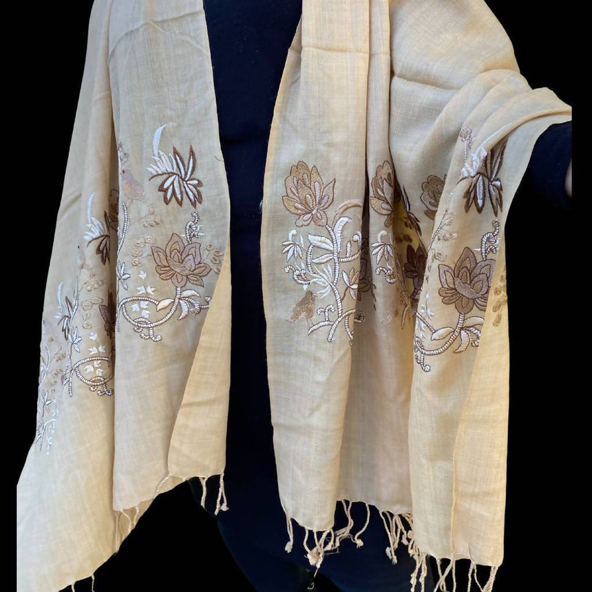 Light Brown Embroidery Pashmina Shawl, Scarf or Wrap Accessories Indo Weaves