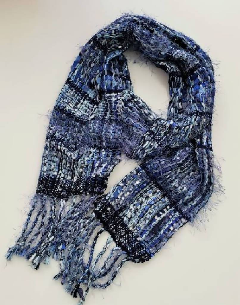 Handwoven Fancy Cotton and Ribbon Scarf- Luv all Blues scarf handwoven Iron Springs Weaving Fancy Luv All Blues Scarf