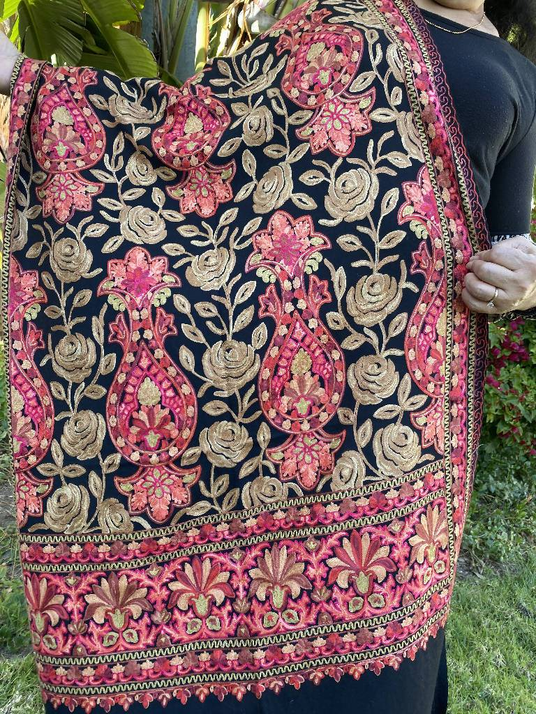 Black Embroidery Pashmina Shawl, Scarf or Wrap Clothes Indo Weaves