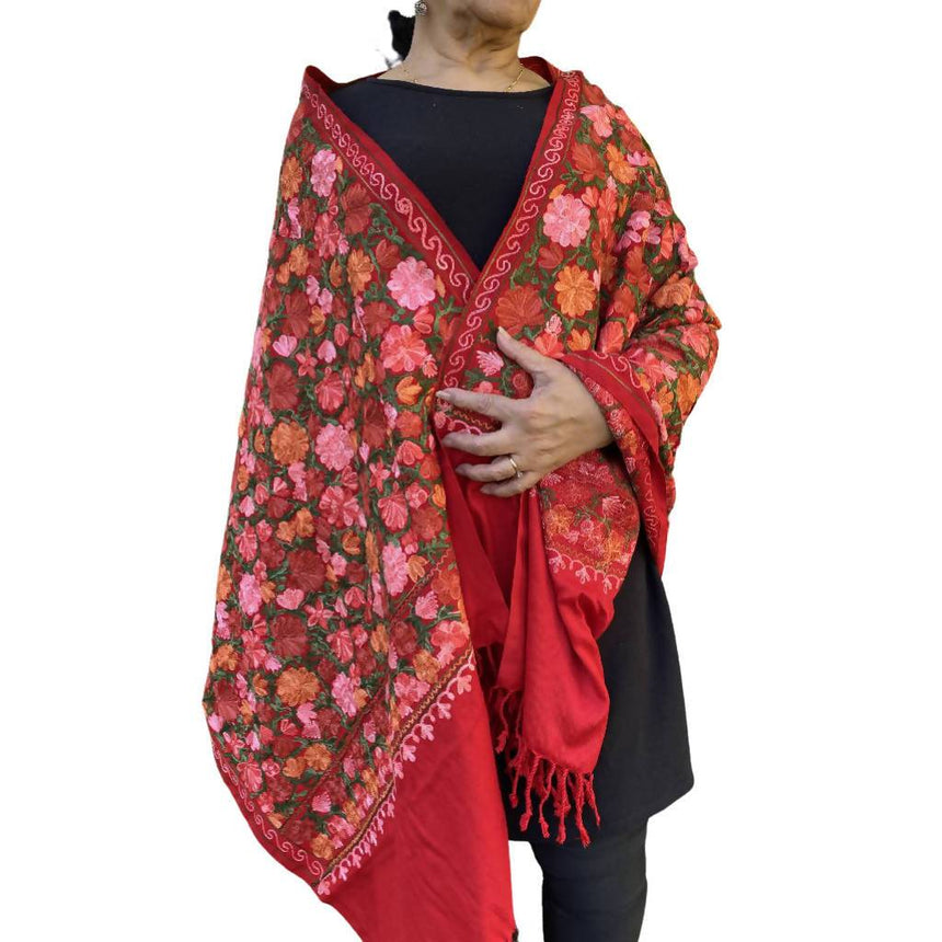 Maroon Embroidered Shawl, Scarf or Wrap