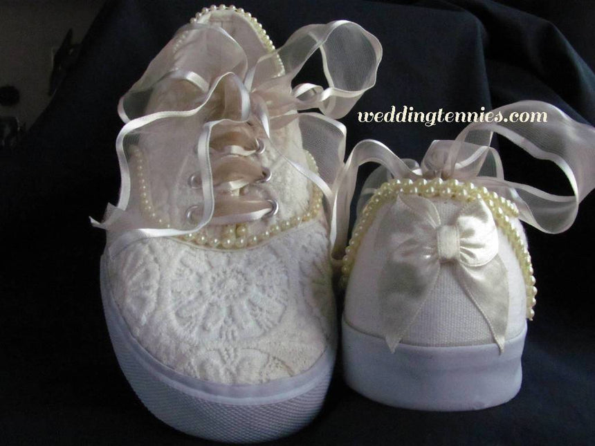 Ivory I Do Wedding Sneakers with Pearls Shoes Wedding Tennies & Formal Shoes