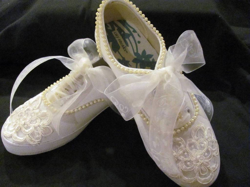 Style I Do Wedding Sneakers with Lace and Pearls Shoes Wedding Tennies & Formal Shoes