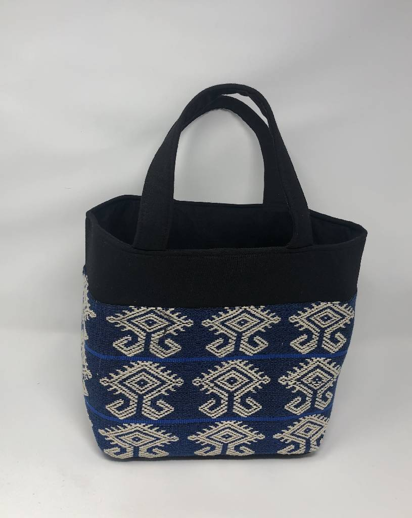 Hand Bag - Blue Mamuli - Black Top Frame (M) Crafting Hope International