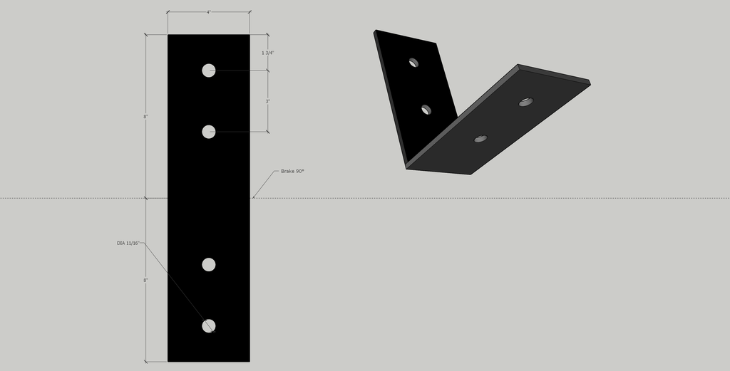 "4"" x 8"" Angle Bracket in 1/4"" unfinished mild steel"