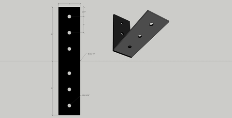 "4"" x 10"" Angle Bracket in 1/4"" unfinished mild steel"