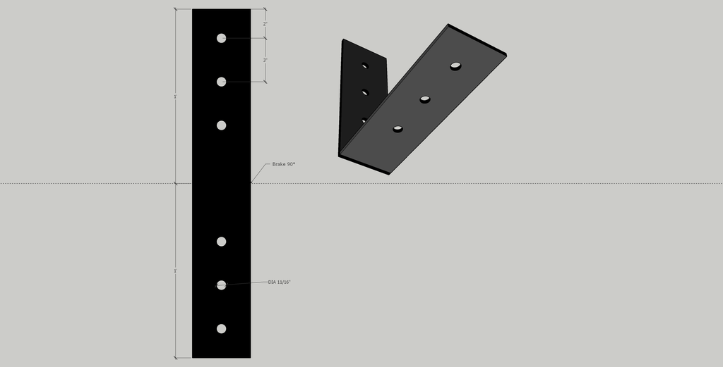 "4"" x 12"" Angle Bracket in 1/4"" unfinished mild steel (Actual product is unfinished steel unless powder-coating is chosen at checkout.)"