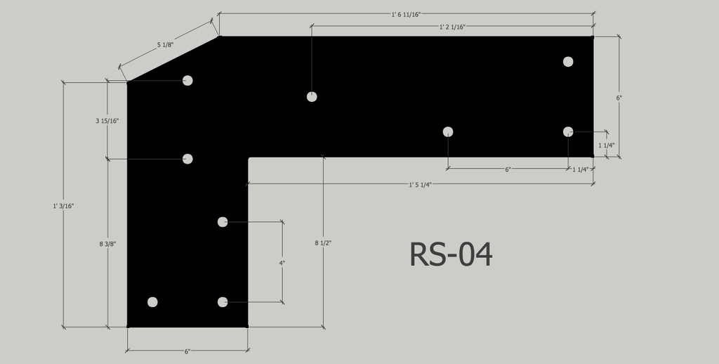 "RS-04 in 1/4"" unfinished mild steel (Actual product is unfinished steel unless powder-coating is chosen at checkout.)"