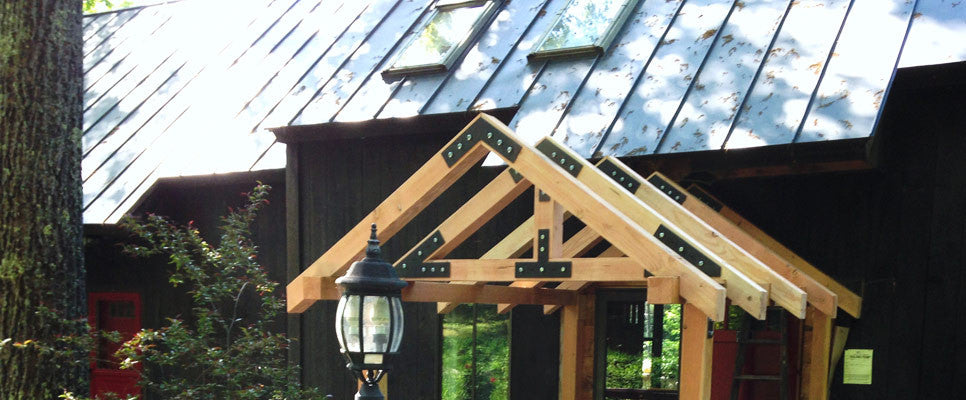 Porch frame showing V, N, T, and W-Plates from our Taiga line