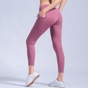 Open image in slideshow, Yoga pants Leggings women's Elastic Tights quick-dry Running sports pants Peach high Waist pocket