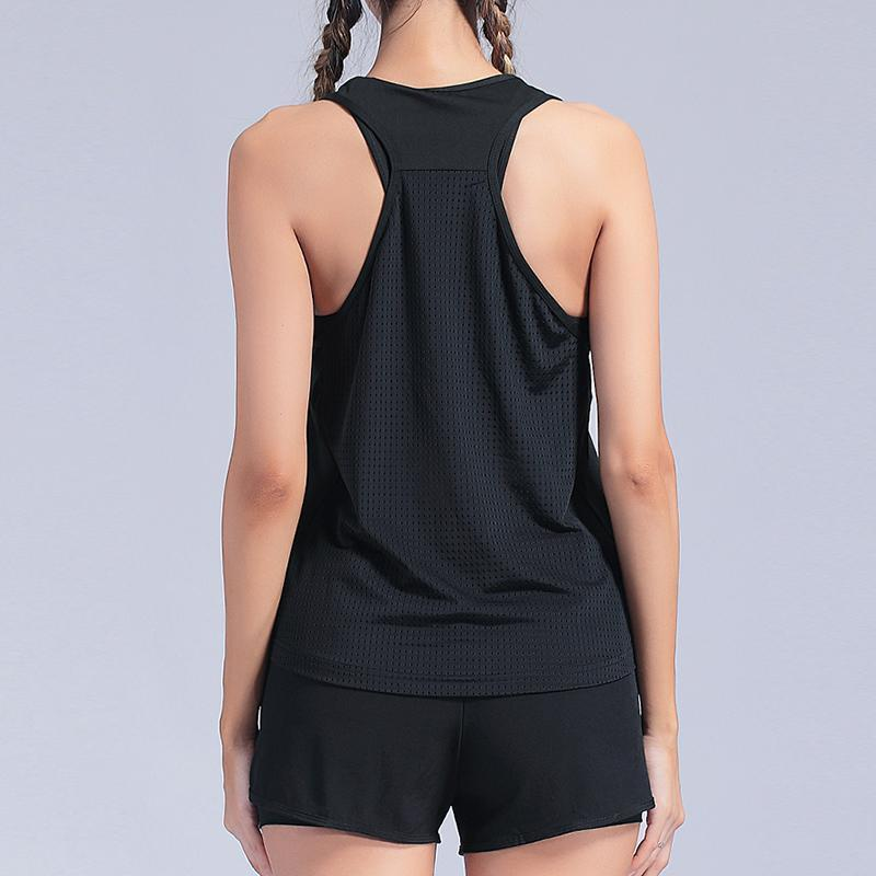 Female Gym Top Black Sleeveless Yoga Shirt Exercise Workout Sports T-Shirts  Yoga Top Gym Women