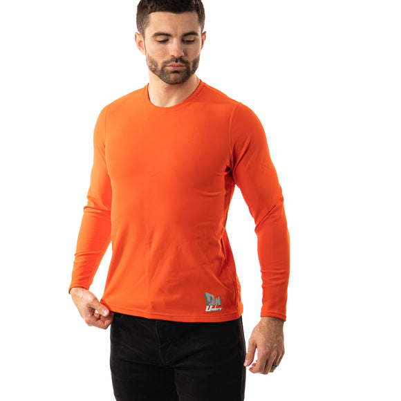Orange Top Long Sleeve Crew Neck Men's